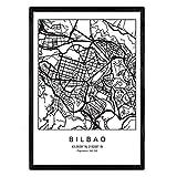 Nacnic Noten Bilbao Stadtplan nordischen Stil schwarz und