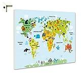 B-wie-Bilder.de Magnettafel Pinnwand Memoboard mit Motiv Weltkarte für Kinder Größe 60 x 40 cm
