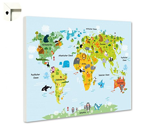 B-wie-Bilder.de Magnettafel Pinnwand mit Motiv Weltkarte für Kinder Größe 60 x 40 cm (Magnetische Wand Landkarte)