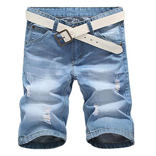 MOTOCO Herren Sommer Jeans Casual Half Pants Übergröße Knöpfe Zip Front und Rear Pocket Straight Pants(XXS,Blau-1) Butterfly Bootcut Jeans