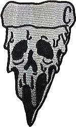 Pizzaschädel (weiß) 6 x 10,5 cm Biker Heavy Metal Horror Goth Punk Emo Rock DIY Logo Jacke Weste Hemd Hut Decke Rucksack T-Shirt Patches Stickerei Applikation Symbol Badge Tuch Schild Kostüm Geschenk