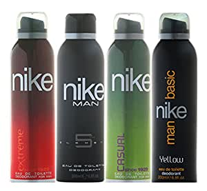 Nike Men Deo Set, 4x200ml (Casual, Element, Yellow and Extreme)