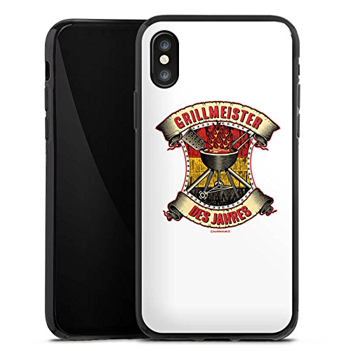 Apple iPhone X Silikon Hülle Case Schutzhülle BBQ Grillmeister Grillsaison Sommer Silikon Case schwarz