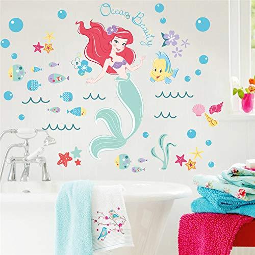 Fee Meerjungfrau Wandaufkleber für Kinder Kinder Schlafzimmer Badezimmer Wandtattoo Kunst Wandbild Mädchen Bunte Blase Fisch Room Decor Poster