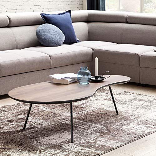 FineBuy Design Couchtisch ELMA Nieren-Form MDF Holz Walnuss Schwarz Modern 122 x 35 x 65 cm | Design Wohnzimmertisch flach mit Metall-Beinen | Loungetisch Kaffeetisch