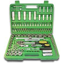 JBM 50791 - Maletín herramientas de 113 piezas con vasos de 12 cantos en estuche (cincado) color verde