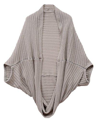 Femme Longue Tricoté Manche Courte Batwing Cardigan En Maille Veste Pull Tricot Gilet Gris