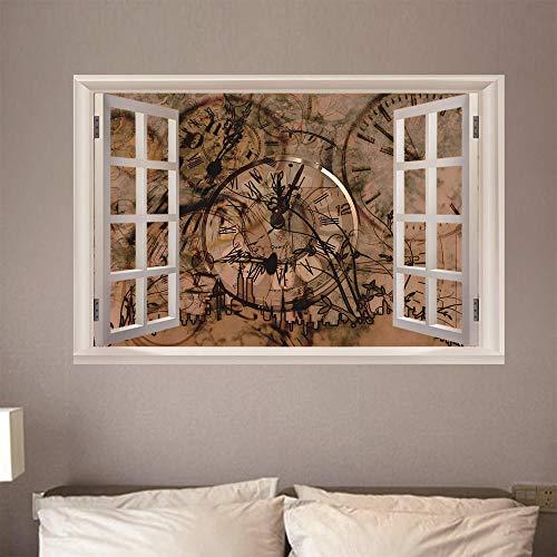 Bilder Fensterblick Leinwand 3D - Wandbild - Fototapete - Poster - Fensterblick - Panorama Bilder - Dekoration - Abstrakte Uhrenkunst,100x70cm