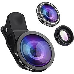 AMIR 3 en 1 Objectif Smartphone Kit de Lentille de Caméra Objectifs Téléphone Fisheye à 180°, 0.4x Objectif Grand Angle, 10x Lentille Macro Smartphone, pour Huawei et Smartphoes