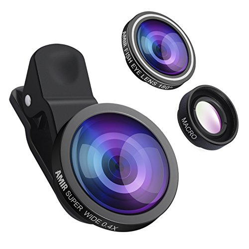AMIR 3 in 1 Cell Phone Lens, 180° Fisheye Lens + 10X Macro Lens + 0.4X Wide Angle Lens, Professional HD Camera Lens Kits, Clip on Smartphone Lens, for iPhone 7/ 7 Plus/ 6/ 6s Plus/ SE, LG, HTC, Huawei, Samsung and Other Smartphone Test