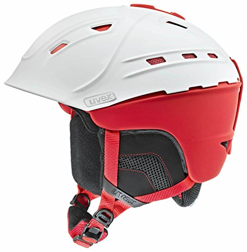 Uvex p2us Casco da sci, white-red mat, 59-61 cm