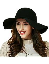 DIS Mujeres Ala Ancha Diva Bowknot banda fieltro de lana Fedora Cloche Floppy Sombrero, tela, negro
