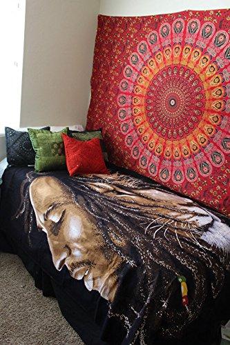 urbancharm-indian Mandala Hippie Wandbehang Wandteppich, Tapisserie, Gypsy rot Pfau, Tagesdecke, (Wandteppiche Wandteppiche Rot)