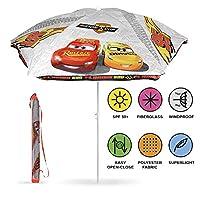 PERLETTI Disney Cars Beach Umbrella - Windproof Garden Patio Sun Umbrella for Kids with Lightning McQueen - Diameter 125 cm - White - Parasol with UV Protection 50+