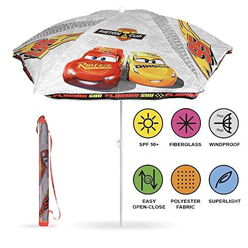 Perletti ombrellone tondo bambino disney pixar cars da spiaggia, mare, giardino e terrazzo - parasole bianco resistente al vento - diametro 125 cm - protezione contro i raggi uv spf 50+