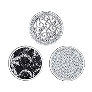 Meilanty 3 Coins 25mm Anhänger Zirkonia Schwarz Schmuck Damen