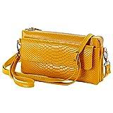 Shalwinn doux sac à bandoulière en cuir véritable Crossbody sac à main, sac à main de pochette de téléphone cellulaire, embrayage portefeuille de poignet avec une longue sangle d'épaule et bracelet