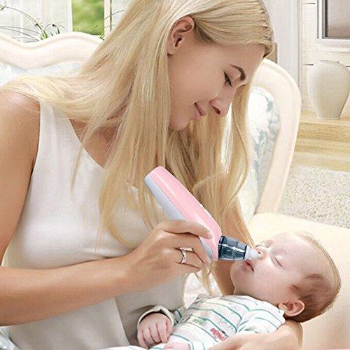 Baby Nasensauger, Nasensekretsauger Nase Reiniger batteriebetrieben mit Musik und weicher Silikon-Spitze (BPA frei) für Neugeborene und kleine Kinder, Rosa - 5