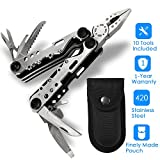 Multi Tool,Banne 10-in-1 Portable Stainless Steel Multi Tool With Plier,Knife,Screwdriver,File,Saw,Opener and Nylon Sheath