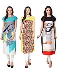 Mastani Kreation's Combo Offer Three Graphical Print Crepe Fully Stitched Kurtis