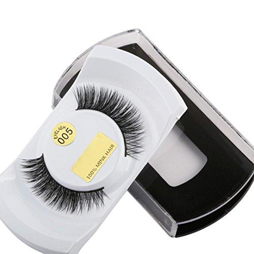rn Natural Dicke Fake falsche Wimpern makeup Verlängerungen für Frauen (D) ()