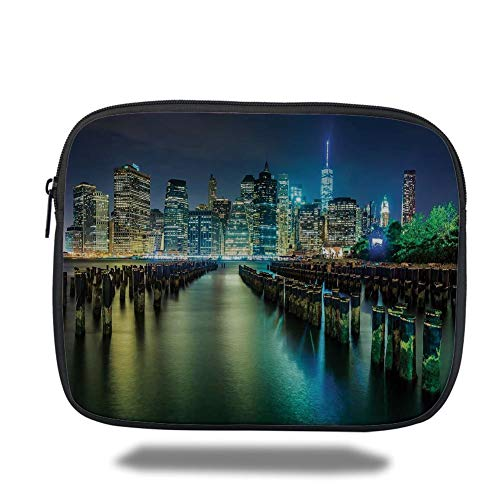 Tablet Bag for Ipad air 2/3/4/mini 9.7 inch,New York,Pier Pilings and Manhattan Skyline at Night Downtown Urban East River,Dark Blue Green Yellow,Bag - New York-slim Briefcase