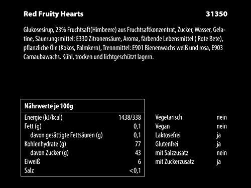 CrackersCompany 'Red Fruity Hearts' Rote Himbeerfruchtsaft Herzen – Fruchtgummi-Herzen mit Himbeergeschmack