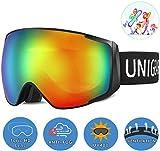Unigear Maschere da Sci, Maschere da Snowboard OTG UV404 Produzione Doppie Lenti Casco Antiappannamento Occhiali da Neve Antivento Compatibili per Bambini Donna Uomo Genitore-Figlio