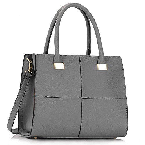 LeahWard® Genuine Simili Cuir Tote Sac Betoulière Sac Femme Gret Styliste Gret Check Sacs 153 gray