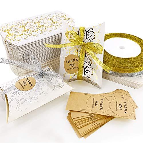 DUOUPA 60 Stk. Klein Geschenkschachtel Kraftpapier Tüten Geschenkbox mit Danke Aufkleber, 6x9cm Weiß DIY Gastgeschenke Hochzeit, Pralinenschachtel Leer Schachtel Kinder Geburtstag Party