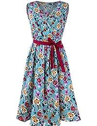 Womens Sleeveless Floral Printed Dress, Kanpola Ladies Casual V-Neck Bandage Waist Belt Ruched