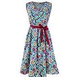 Womens Sleeveless Floral Printed Dress, Kanpola Ladies Casual V-Neck Bandage Waist Belt Ruched Tank Top Knee Length A-Line Dresses