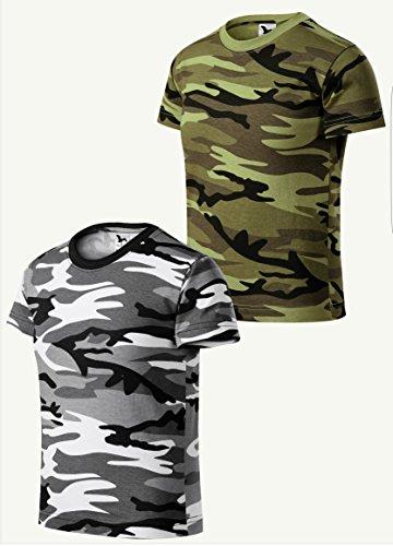 WearYourBrand by Malfini Camouflage Kinder T-Shirt Jungs Mädchen 2er pack (Grau Grün, 158 cm/12 Jahre)
