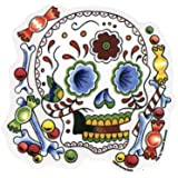 "Sunny Buick - Candy Sugar Skull autocollant Sticker - 4 1/2"" w x 4 1/2"" h - Weather Resistant, Long Lasting for Any Surface"