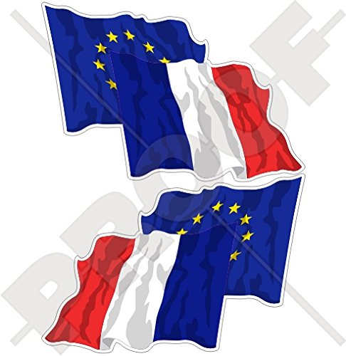 Europäischen union-france Waving Flag Paar, eu-fr europe-french 7,6 cm (75 mm) Bumper Sticker, Aufkleber Vinyl X2 (links-rechts) (French Flag Bumper Sticker)
