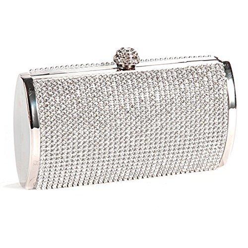 TOOGOO(R) Sac a Main Pochette Porte-monnaie Rigide Metallique Deco Strass Pr Femme Fille Argente