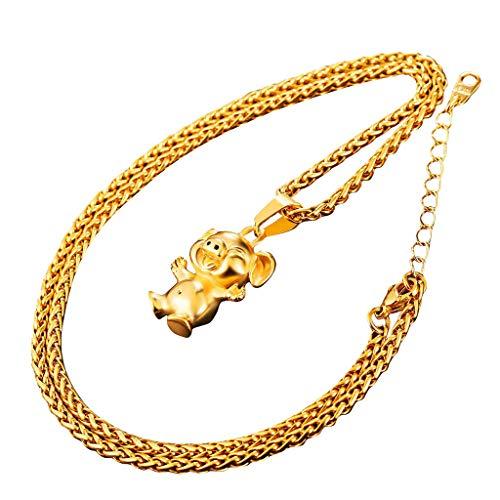 UINGKID Damen Halskette Anhänger Schmuck Year of The Pig Niedliche kleine Goldfarbe Edelstahlkette &