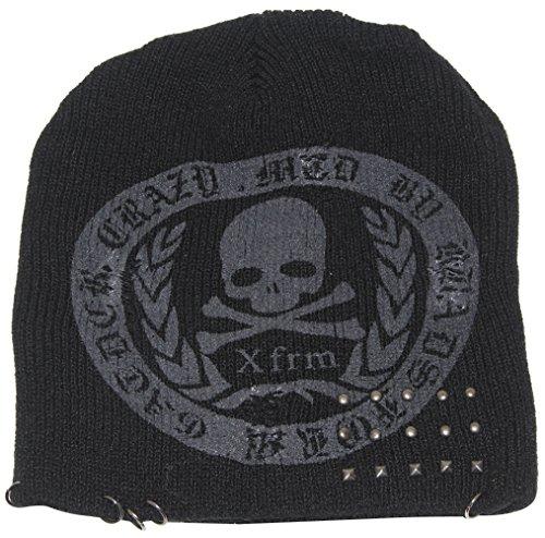 MINAKOLIFE Dünn Knit geeignet für Frühjahr und Herbst Slouch Knit Beanie Cap Slouchy Diamant Totenkopf schwarz hat Gr. Einheitsgröße, Xfrm (Hat Knit Diamond)