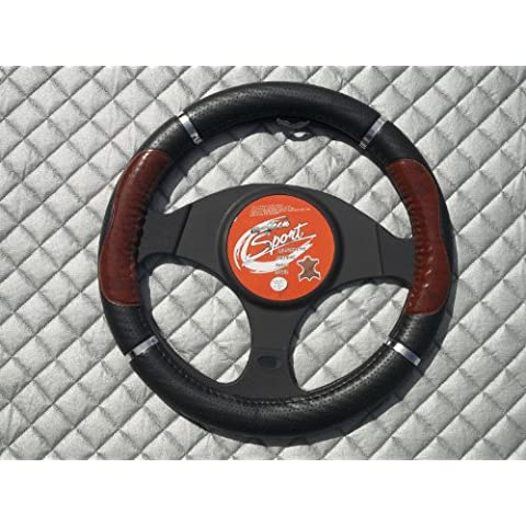 Mazda Cx 5Coche Funda De Volante SWP 13M–Negro Madera de Caoba cromo polipiel 14,5cm Tamaño