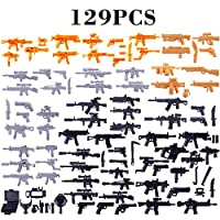 LoKauf 129Pcs Custom Weapons for Minifigures Military Figures SWAT Team Soldier Police Figures Set