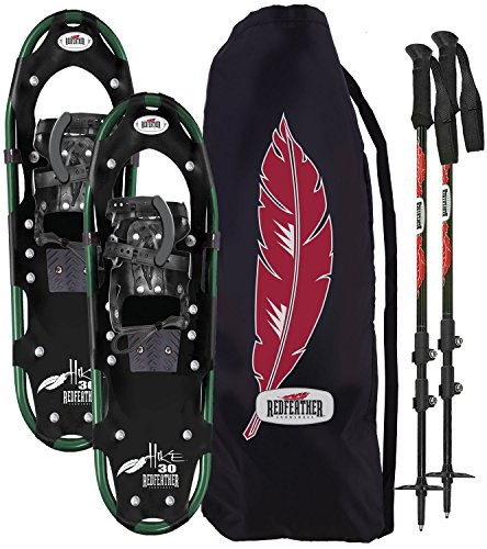 Redfeather Men's Hike Recreational Series Snowshoe Kit, Snowshoes, Poles  and Carry Tote, Available In 22, 25, 30 & 36 Inch Lengths, Aluminum Frame,