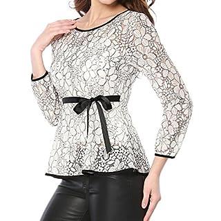 Allegra K Women's Tie Waist Formal Long Sleeve Semi Sheer Lace Peplum Top White S (US 6)