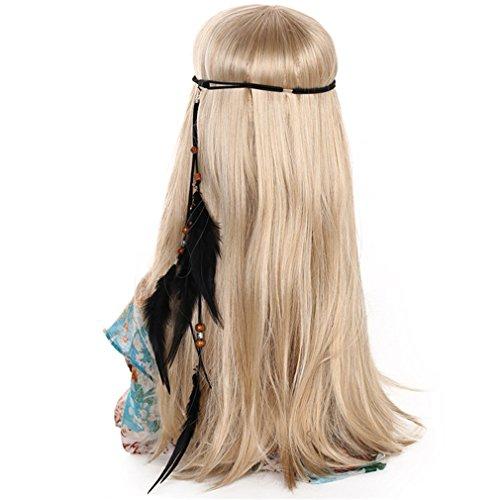 Stirnbänder für Frauen indische Federn Stirnband Mode Boho Mädchen Festival Perlen Gypsy Feder Haarschmuck DB06124 ()