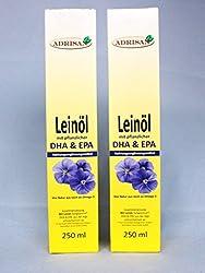 Adrisan BIO-Leinöl mit DHA+EPA 2er Pack (2x 250 ml) mit Dosierer, natives Speiseöl aus 1. Kaltpressung (500)