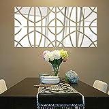 wandaufkleber wandtattoos Ronamick 14Pcs 3D Spiegel Rechteck Vinyl abnehmbare Wand Aufkleber Decal Home Decor Art DIY Wandtattoo Wandaufkleber Sticker Wanddeko (Silber)