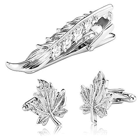 AnaZoz Modeschmuck Edelstahl Krawattennadeln & Manschettenknöpfe Set für Herren, Krawattenklammer Blatt Hemd Business Hochzeit Silber