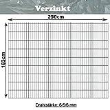 Gittermatte Doppelstabmatte Verzinkt/Höhen 83cm - 203cm x Breite 250cm/Drahtstärke 6/5/6mm/Maschenweite 50 x 200mm/Wählen Sie die Größe (Verzinkt, 183cm)