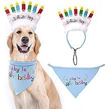 EXPAWLORER - Bandana de cumpleaños para Perro con Velas de cumpleaños, Juego de decoración de