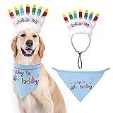 EXPAWLORER - Bandana de cumpleaños para Perro con Velas de cumpleaños, Juego de decoración de Regalo de cumpleaños para Mascota, Bufanda Suave y Adorable Sombrero para Fiesta Accesorio