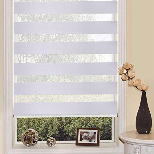 Preisvergleich Produktbild Rollos Doppelrollo verspannt weiss Raffrollo ohne Bohren Sonnenschutzrollo Fensterrollo viele Größen (L(90 * 150cm))